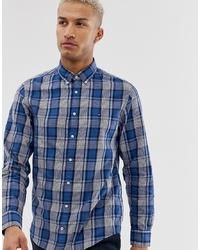 Chemise à manches longues à carreaux bleue Tommy Hilfiger