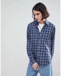 Chemise à manches longues à carreaux bleue Vans