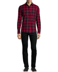 Chemise à manches longues à carreaux bordeaux