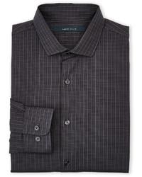 Chemise à manches longues à carreaux grise foncée
