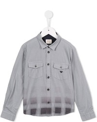 Chemise à manches longues à carreaux grise Armani Junior