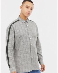 Chemise à manches longues à carreaux grise ASOS DESIGN