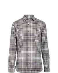 Chemise à manches longues à carreaux grise Burberry