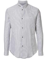 Chemise à manches longues à carreaux grise Emporio Armani