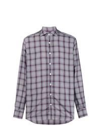 Chemise à manches longues à carreaux grise Etro