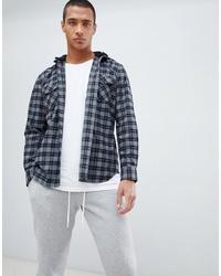 Chemise à manches longues à carreaux grise Hype