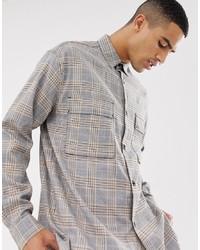Chemise à manches longues à carreaux grise Mennace