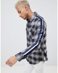 Chemise à manches longues à carreaux grise Night Addict