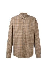 Chemise à manches longues à carreaux marron clair