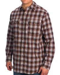 Chemise à manches longues à carreaux marron