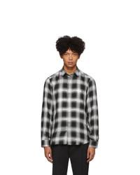 Chemise à manches longues à carreaux noire et blanche Diesel