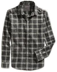 Chemise à manches longues à carreaux noire