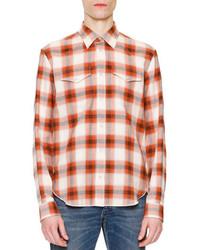 Chemise à manches longues à carreaux orange