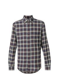 Chemise à manches longues à carreaux pourpre foncé Aspesi