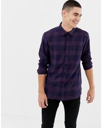 Chemise à manches longues à carreaux pourpre foncé Jefferson