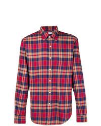 Chemise à manches longues à carreaux pourpre Aspesi