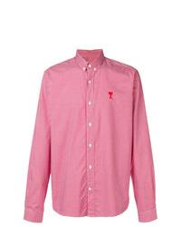 Chemise à manches longues à carreaux rouge AMI Alexandre Mattiussi
