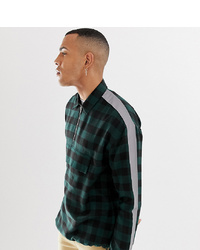 Chemise à manches longues à carreaux vert foncé Collusion