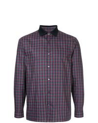 Chemise à manches longues à carreaux violette Cerruti 1881
