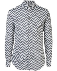 Chemise à manches longues à chevrons grise Giorgio Armani