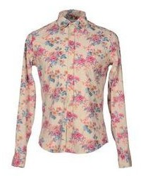 Chemise à manches longues à fleurs beige