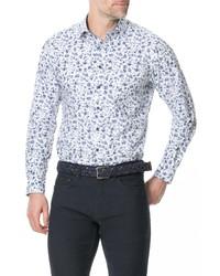 Chemise à manches longues à fleurs blanc et bleu marine