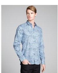 Chemise à manches longues à fleurs bleu clair