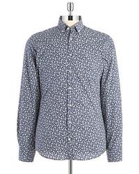 Chemise à manches longues à fleurs bleu marine et blanc