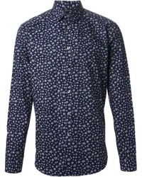 Chemise à manches longues à fleurs bleu marine et blanc Paul Smith