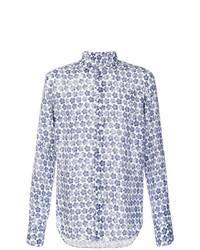 Chemise à manches longues à fleurs bleu marine et blanc Xacus