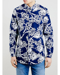 Chemise à manches longues à fleurs bleu marine