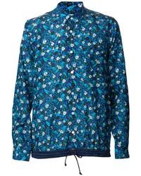 Chemise à manches longues à fleurs bleue