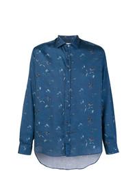 Chemise à manches longues à fleurs bleue Etro