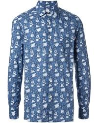 Chemise à manches longues à fleurs bleue Kiton