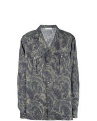 Chemise à manches longues à fleurs gris foncé Etro