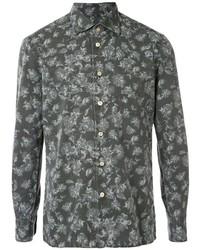 Chemise à manches longues à fleurs gris foncé Kiton