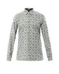 Chemise à manches longues à fleurs grise