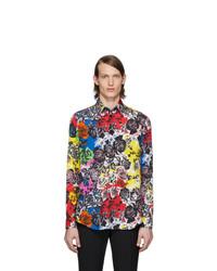 Chemise à manches longues à fleurs multicolore Versace