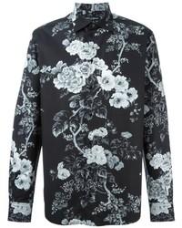 Chemise à manches longues à fleurs noire et blanche