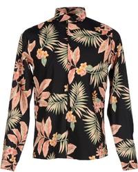 Chemise à manches longues à fleurs noire