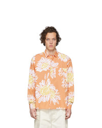 Chemise à manches longues à fleurs orange Jacquemus