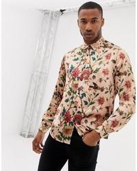 Chemise à manches longues à fleurs rose