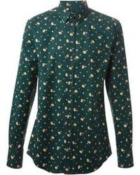 Chemise à manches longues à fleurs vert foncé