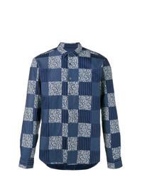 Chemise à manches longues à patchwork bleu marine