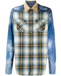 Chemise à manches longues à patchwork bleue