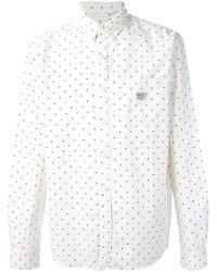 Chemise à manches longues á pois blanc et bleu marine
