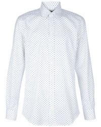 Chemise à manches longues á pois blanc et bleu Dolce & Gabbana