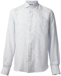 Chemise à manches longues á pois blanche