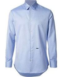 Chemise à manches longues á pois bleu clair