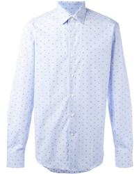 Chemise à manches longues á pois bleu clair Salvatore Ferragamo